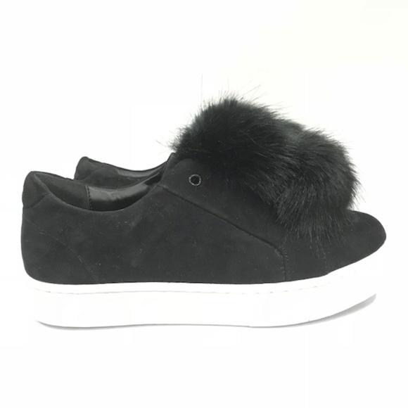 d69498a5a62aee Sam Edelman Leya Sneaker Black Leather Fur! M 5b5e37baaa57196a7d3d07a9